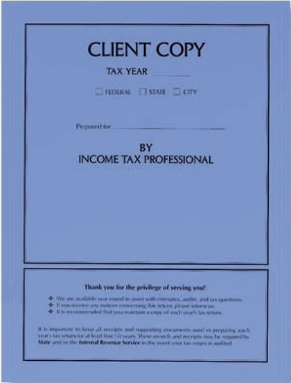 Tax Return Client Copy Folders Blue MDCB07