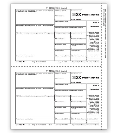 1099-INT Income 2UP Individual Sheets Recipient Copy B MDTF5121