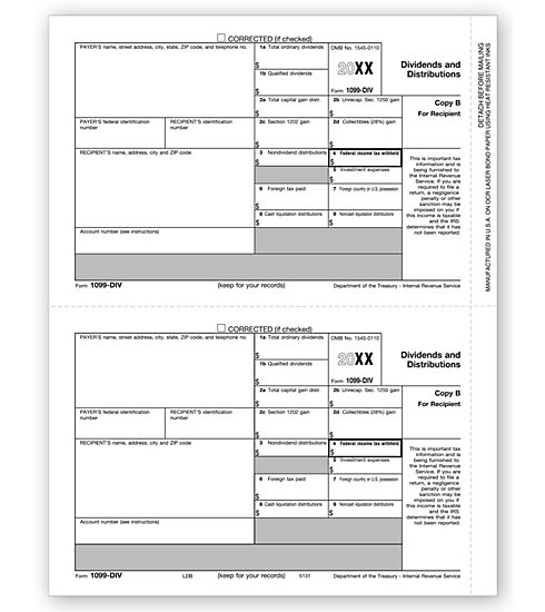 1099-DIV Income 2UP Individual Sheets Recipient Copy B MDTF5131