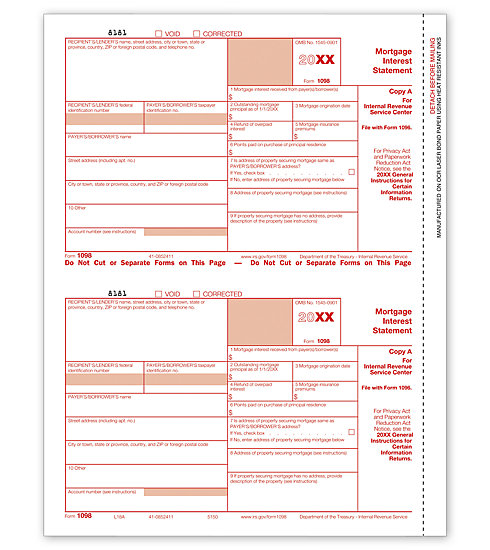 1098 Mortgage Int 2UP Individual Sheets Federal Copy A MDTF5150