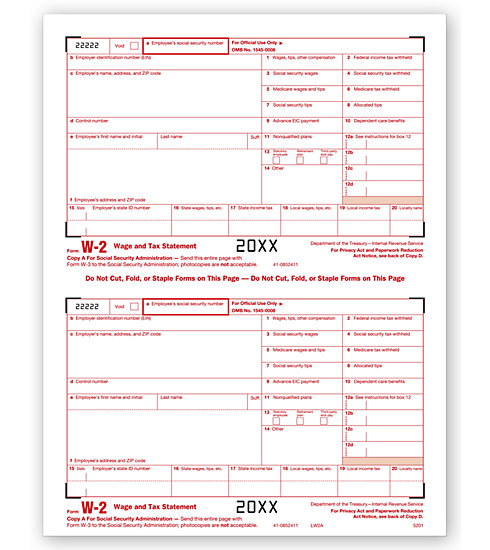 W-2 2UP Individual Sheets Federal Copy A MDTF5201