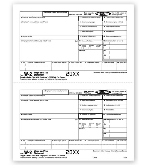 W-2 2UP Individual Sheets Employee Copy B MDTF5202