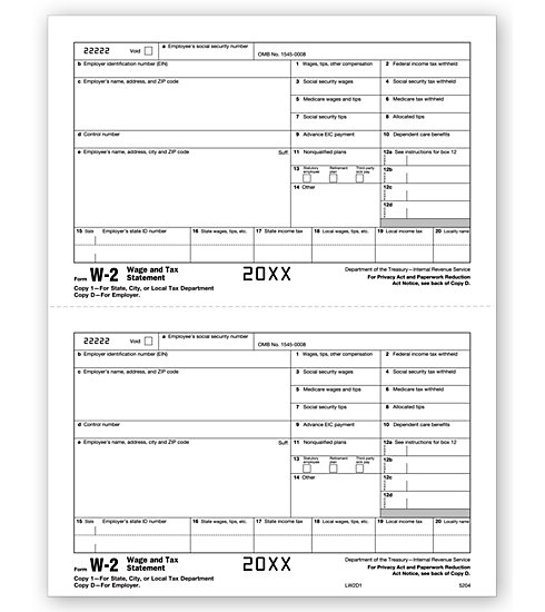 W-2 2UP Individual Sheets Employer Copy 1 / Copy D MDTF5204