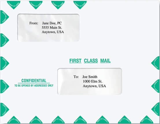 First Class Dual Window Envelope-Moisture Seal MDPEA01
