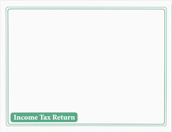 Tax Return Envelope White w/Green Ink MDENV410