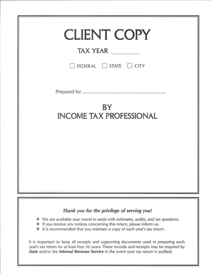 Tax Return Client Copy Folder White MDSW06