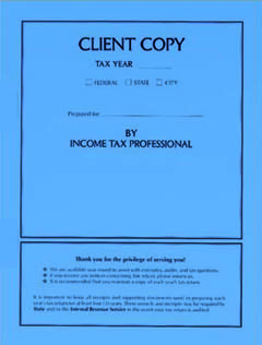 Tax Return Client Copy Folder w/ Side Staples Blue MDSCB02