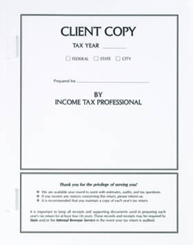 Tax Return Client Copy Folder w/ Side Staples White MDSCW01